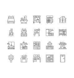 accomodation line icons signs set vector image