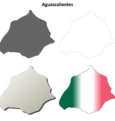 Aguascalientes blank outline map set vector