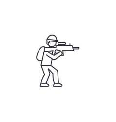 aiming soldier line icon sign vector image