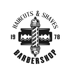 barbershop emblem with blade and striped pole vector image