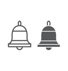 Bell line and glyph icon ring and alert alarm vector