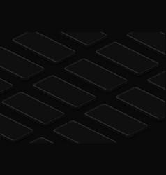 black isometric realistic smartphones grid dark vector image