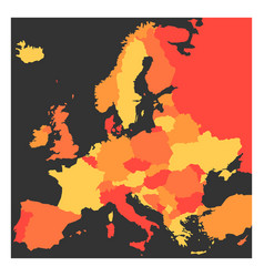 Blank political map europe continent in four vector