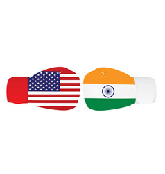 boxing gloves with india and usa flags vector image