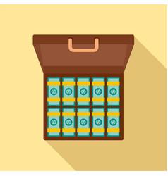 bribery money case icon flat style vector image