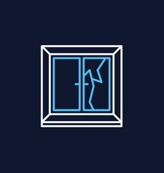 broken window colored icon - cracked window vector image