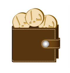 Brown wallet with dirham coins vector