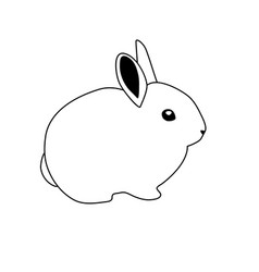 Bunny rabbit icon abstract outline rabbit hand vector