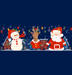 cartoon banner for holiday theme with deersnowman vector image
