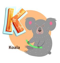 cartoon koala with branch for k alphabet letter vector image
