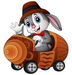 Cartoon rabbit driving a toy car vector