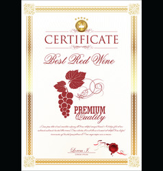 certificate - best red whine vector image