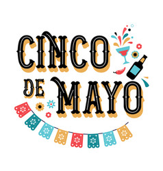 Cinco de mayo banner and poster design with flags vector