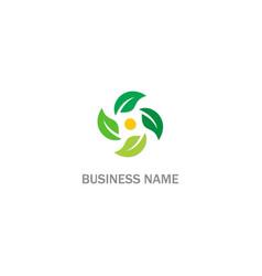circle green leaf nature organic logo vector image