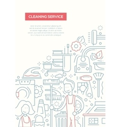 Cleaning service - line design brochure poster vector