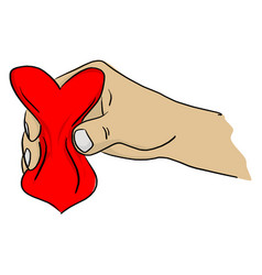 Close-up hand squeezing red heart shape vector