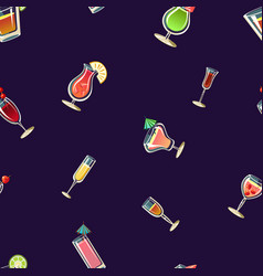 cocktails seamless pattern with cocktails and vector image