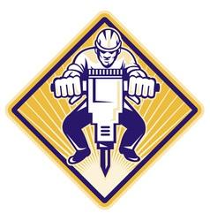 construction worker jackhammer vector image