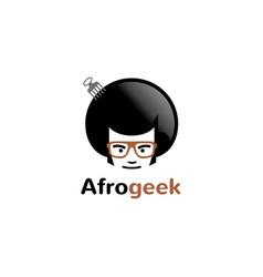 creative afro hair geek comb style logo vector image