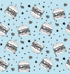 cute pattern with white burgers on blue background vector image