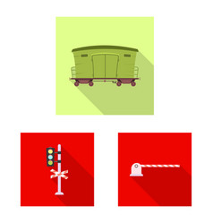 design of train and station sign set of vector image
