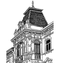 drawing of Lviv Ukraine historical building vector image