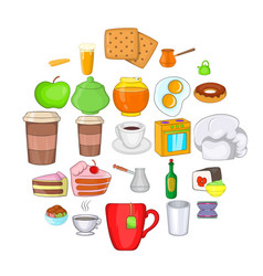 eating icons set cartoon style vector image
