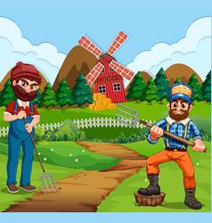 farmer working in farm vector image