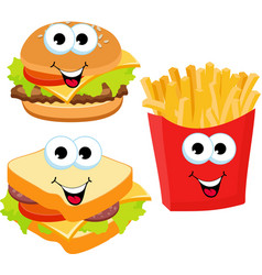fast food set hamburger sandwich and french fries vector image