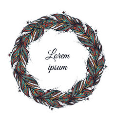 Feather wreath hand drawn in boho vector