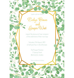 festive wedding invitation card with evergreen vector image