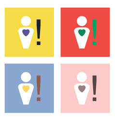 Flat icon design collection man with heart sign vector