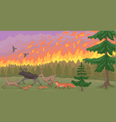 Forest fire and fleeing animals natural disaster vector