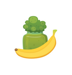 fruit organic broccoli jam and smoothie with vector image