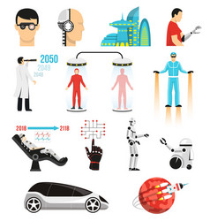 Futurology icons set vector