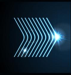glowing blue neon arrows shiny design vector image