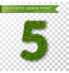 Grass number five green number five isolated on vector