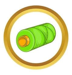 Green bobbin of thread icon vector