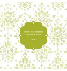 Green textile damask flower frame seamless pattern vector