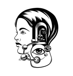 Hand drawn of young girl with door in her head vector