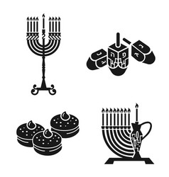 hanukkah icon set simple style vector image