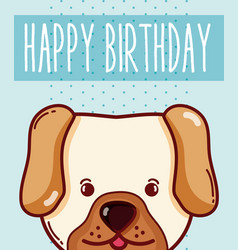 Happy birthday card with animal cartoon vector