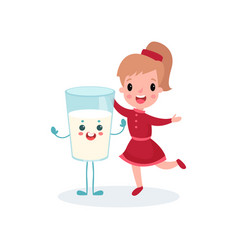 Happy girl having fun with smiling humanized glass vector