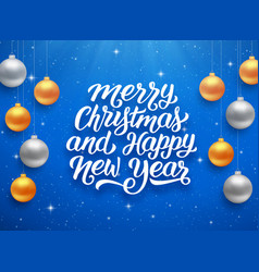 Happy new year and merry christmas card vector