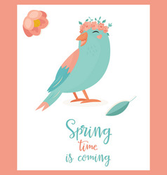 Hello spring bird vector