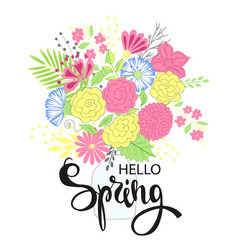 hello spring hand drawing lettering design vector image