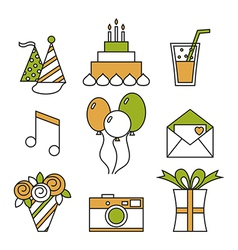 Holiday icons happy birthday set vector