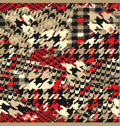 Houndstooth tartan plaid fabric patchwork vector