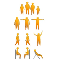 Human silhouettes making moves and sitting down vector