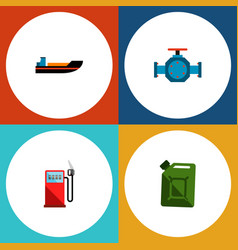 Icon flat oil set of gas station jerrycan pipe vector